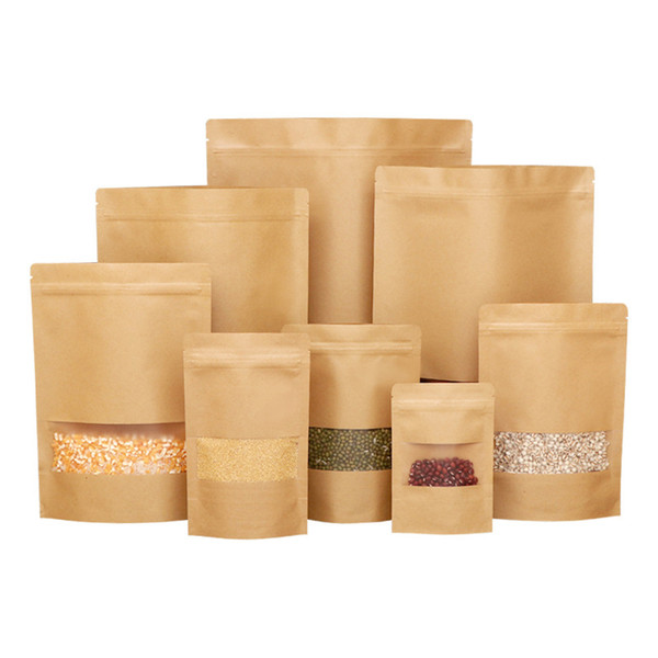 top popular 100pcs Kraft Paper Stand Up Zipper Pouch Bag with Window Resealable Zip Lock Closure Heat Seal for Food Packaging HOT 2021
