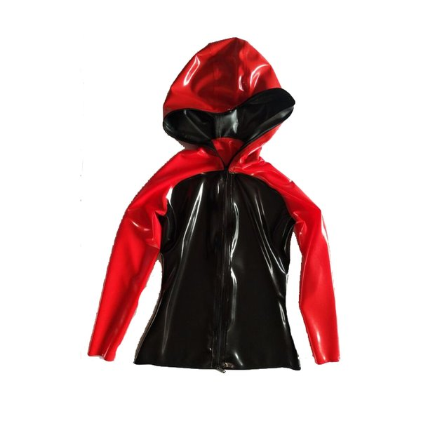 New Style 100% Latex Rubber Men Hooded Casual Black and Red Sports Jacket With Zipper 0.4mm XXS-XXL