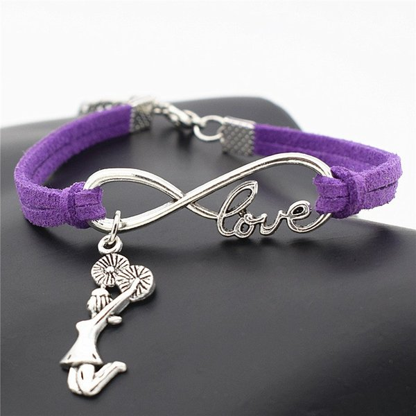 Fashion Infinity Love Cheerleader Cheer Girl Decoration Bangle 10 Color Purple Leather Bracelet For Women Men Summer Party Special Accessory
