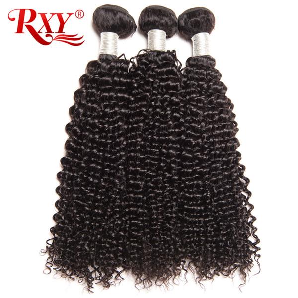 Rxy Перуанские Пучки Волос Афро Кудрявый Вьющиеся Волосы Ткачество Толстые Концы Перуанский Вьющиеся Девственные Пучки Человеческих Волос Пролить Бесплатно 10-26 Дюймов
