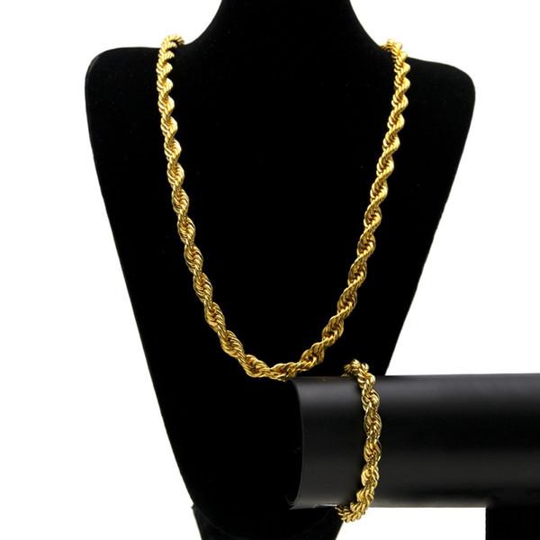 Hip Hop Altın Halat Zincir Yeni Moda Erkek 1 cm Altın Büküm Zincir Bilezik Kolye Takı Seti