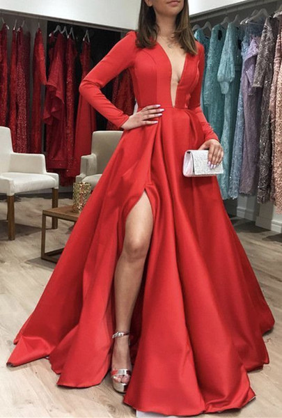 Vintage Long Sleeve 2019 Prom Dresses Evening Gowns Cheap Deep V neck High Splits Satin A line Discount party Formal Pageant Dress Cheap