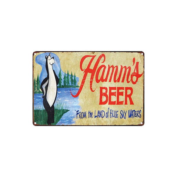 classic vintage Hamm's BEER coois light Budweiser SAMUEL ADAMS FARM FRESH EGGS sale tin sign Coffee Shop Bar decoration Bar Metal Paintings