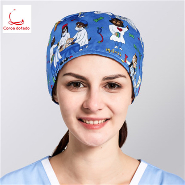 Surgical cap polyester cotton breathable for men and women general doctors cap nurse operating room working pet hospital