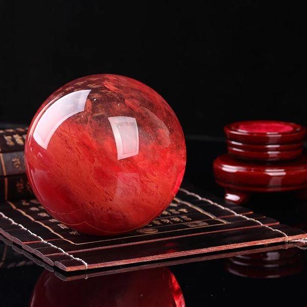 80mm Factory direct selling kaiguang natural melting stone red crystal ball set pieces of hongyun head