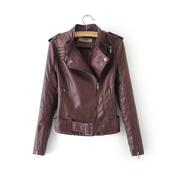 Sashes Zipper Faux Soft Leather Jacket Coat 2019 New Women Turn-down Collar Casual Pu Motorcycle Black Punk Outerwear