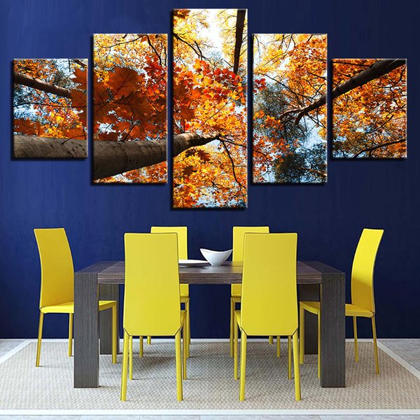 Wall Art Canvas Painting 5 Pieces Yellow Leaves Autumn Scenery Picture Modular HD Prints Poster For Living Room Frame Home Decor