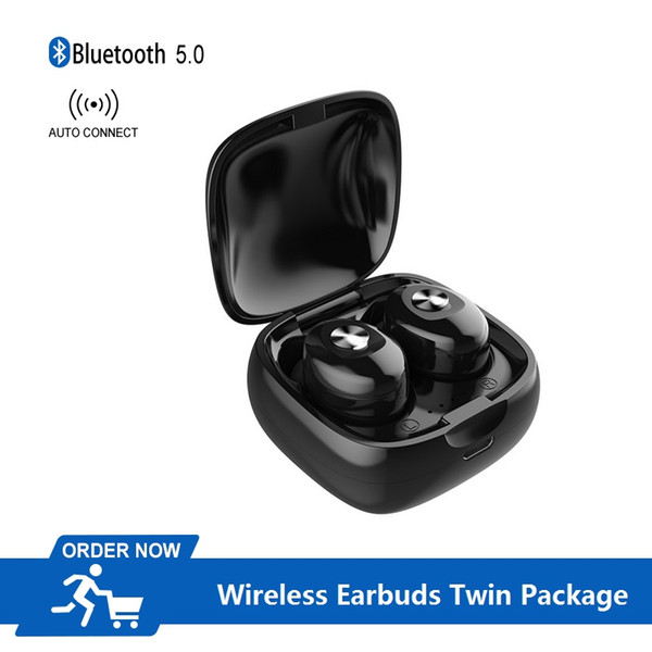 Auricolari wireless Bluetooth 5.0 Auricolari in-ear a doppio orecchio Cuffie TWS con controllo a pulsante Accoppiamento automatico Music Time 4 ore