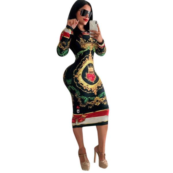 Women Dress Long Sleeve O-neck Poker playing cards Vintage Chain Print Dresses women sexy Bandage nightclub Midi dress