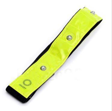 Seguridad Brazalete amarillo reflectante Luces LED Correr Ciclismo Caminar Calentadores de piernas Visibilidad alta 4 LED Cinturón reflectante con brazalete