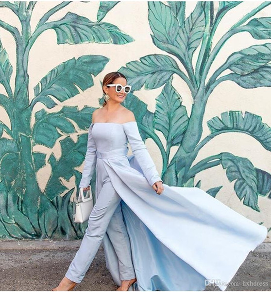 2019 New Fashion Long Light Blue Jumpsuit Prom Dresses with Detachable Train Plus Size Vestido De Festa Satin Formal Party Evening Gowns