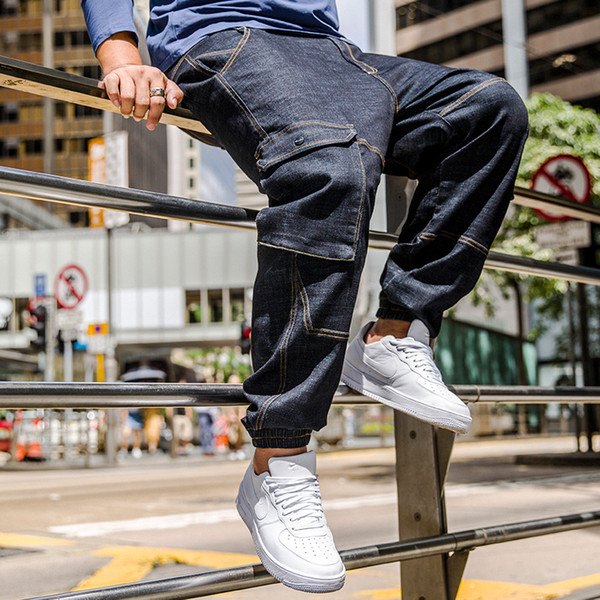2019 Hip-Hop Men Big Pockets Casual Denim Harem Pants Men's Slim Jeans Pants Biker Jeans Men Rock Ripped Large Size 30-46