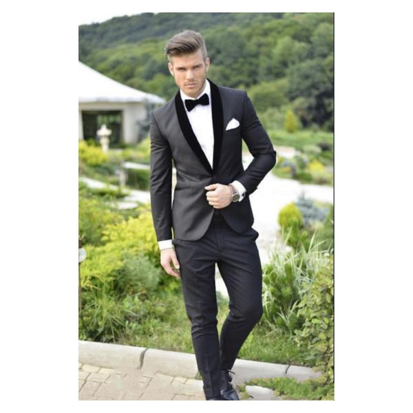 Grey Groom Tuxedos 2019 Charcoal Best man Shawl Black Collar Groomsman Men Wedding Suits Bridegroom (Jacket+Pants+Tie+Girdle)Custom Made