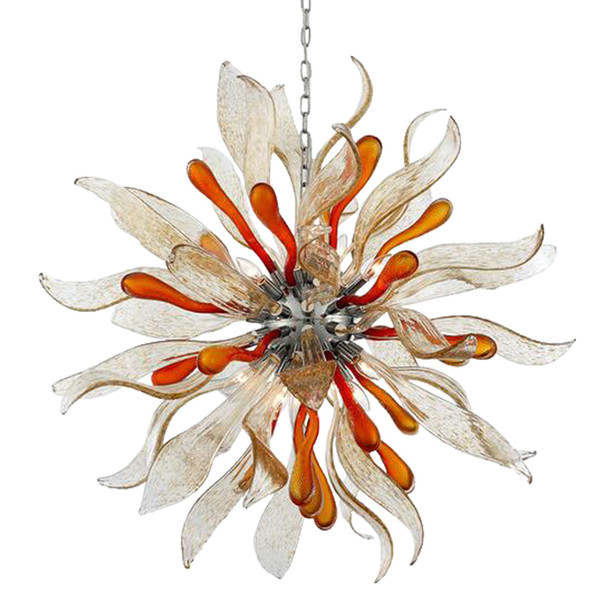 Round Flower Blown Glass Chandelier, Colored Art Chandelier Murano for Villa Stair Office House Ceiling Decoration