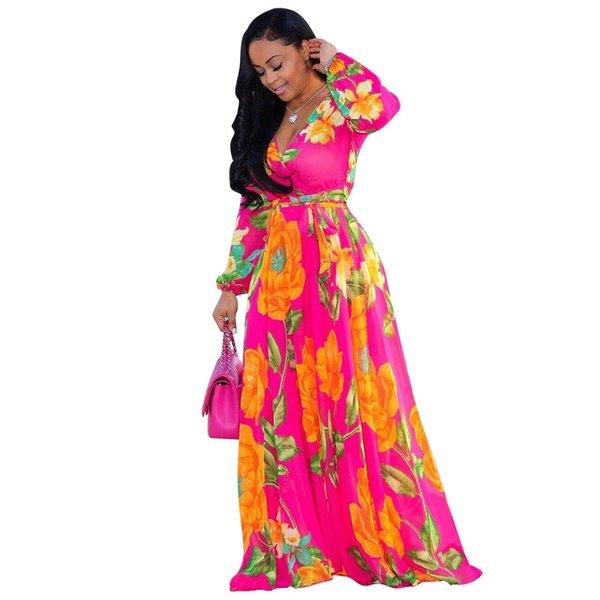 Hot Sell Floral Print Vintage Chiffon Dress Top Deep V Neck Long Lantern Sleeve Floor Length Dress Spring Plus Size Beach Maxi Dress