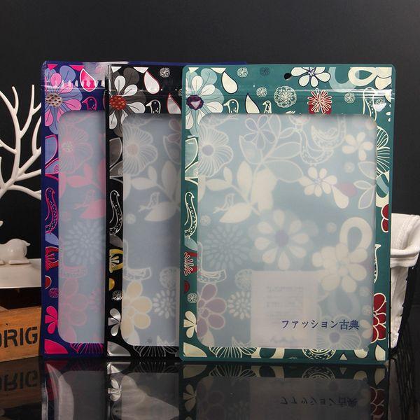 Color Zipper Ziplock Transparent Printing Window Zipper Plastic Packaging Bag Clothing Bone Hat Stockings Bath Towel Scarf Pants LX2405