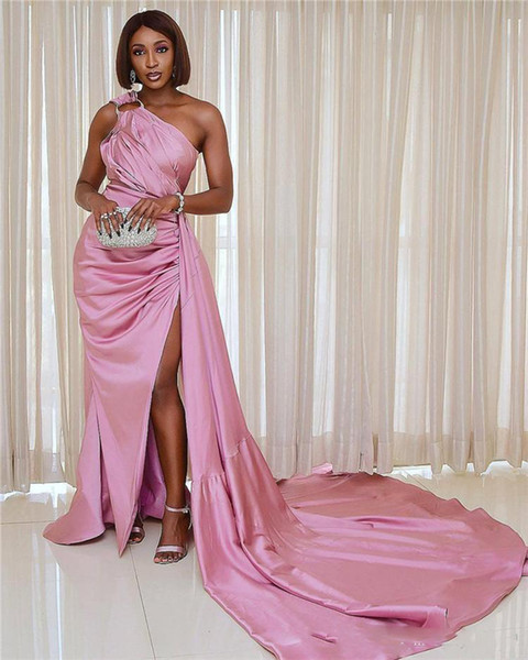 Blush Pink One Shoulder Mermaid Prom Dress Vinatge Satin Sheath Vestido de noche High Side Split Formal Party Vestidos de dama de honor