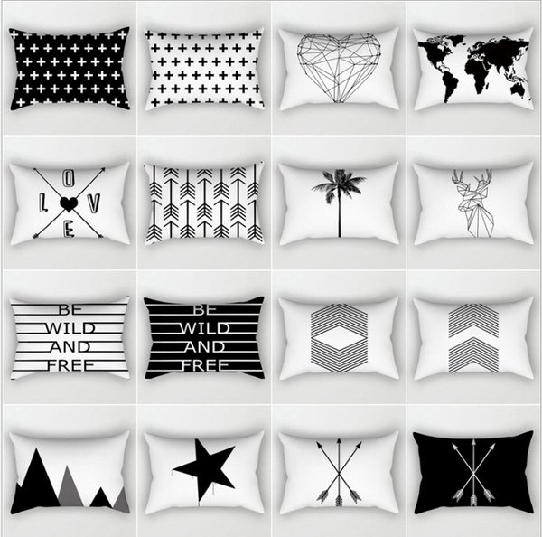 Pleasing Black White Geometric Cushion Cover Home Decor Velvet Map Arrow Pillow Cover 30X50Cm Decorative Chevron Pillows Case Pillowsham Outdoor Wicker Gmtry Best Dining Table And Chair Ideas Images Gmtryco