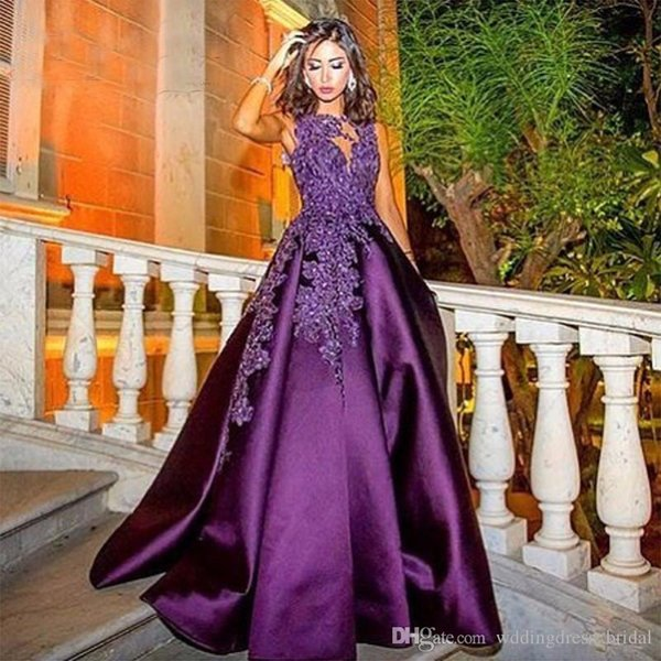 Evening Dresses for Fat Women Vestidos Longos Para Casamentos 2019 New Purple Satin Cap Sleeve Prom Long Dresses