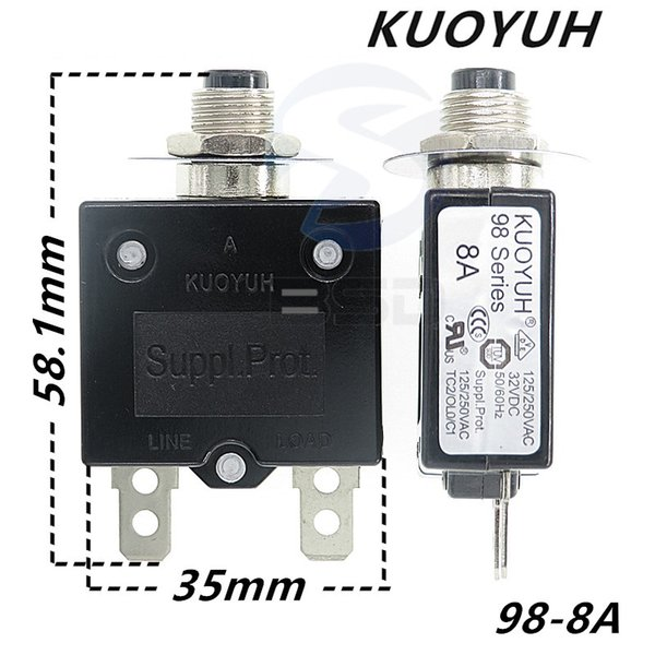 top popular Taiwan KUOYUH 98 Series-8A Overcurrent Protector Overload Switch 2021