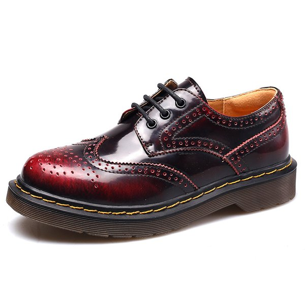 Genuine leather Women work shoes women wingtip shoes lace up oxford shoes brand designer british flats for ladies zy474