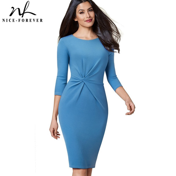 Nice-forever Vintage Pure Color Wear To Work Knot Vestidos Business Party Women Elegant Office Female Bodycon Dress B476 J190505