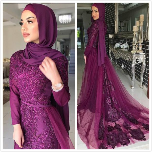 Purple Lace Mermaid 2019 Muslim Prom Dresses Long Sleeves Beaded Chiffon Evening Dresses Vintage Sexy Formal Party Bridesmaid Pageant Gowns