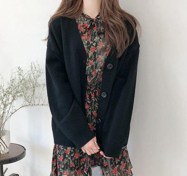 Kadınlar Sonbahar Kış Örme Bayan Hırka Kazak Güz Kore Stili Uzun Kollu İnce Kadın ler Hırkalar Streetwear Katı Kadınlar Kazak