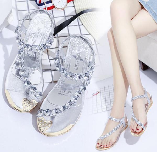 Dulce A12 Y Para 97 De Con Zapatos Cuñas Compre Playa Sandalias Estilo Elegantes 2019 Medio Pedrería Mujer Bohemio Verano Nuevas Tacón 1lFKcJT