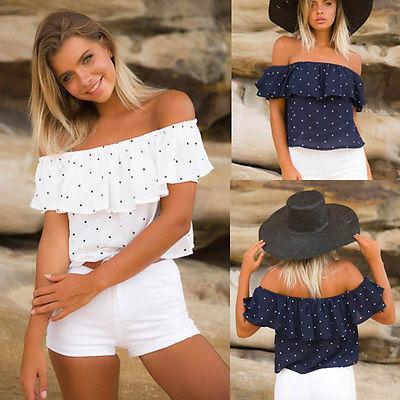 Mode féminine Encolure à pois Volants tête Chemisier d'été blanc bleu marine sans manches Chemisier Casual Top en vrac