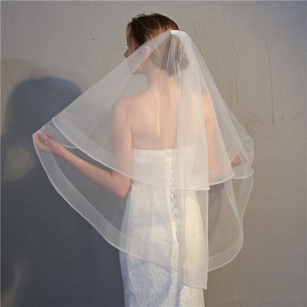 Güzel Gelin duvak çift katmanlı düğün düğün taç 2019 yeni kısa peçe evli