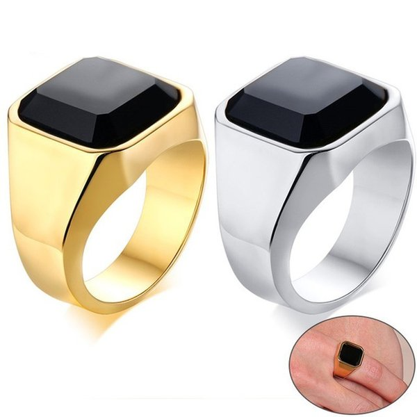 Elegante Mens Signet Pinky Ring Oro e argento Tones Stainless Steel Black Stone anel masculino Accessorio maschile