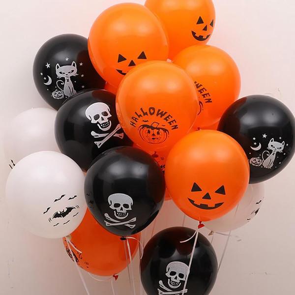 10pcs / lot crâne chauve-souris citrouille d'Halloween Décor ballon d'air gonflable Boule d'Halloween pour enfants Jouets Décor de fête d'anniversaire latex Fournitures Ballons