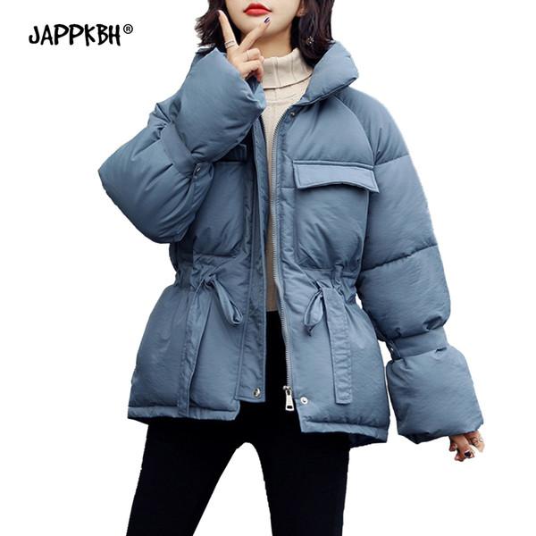 Manteau d'hiver d'automne Femmes 2019 col montant Casual Slim solide manteau Vestes Femme chaud Taille Plus poches Ceinture Outwear Parkas