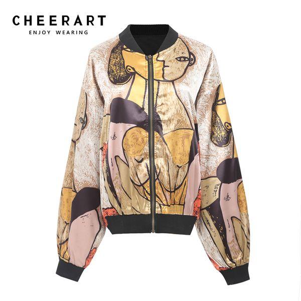 Cheerart Harajuku Jaqueta De Ouro Impressão Jaqueta De Cetim Solto Casacos de Designer de Glitter Fino de Beisebol Streetwear Outono