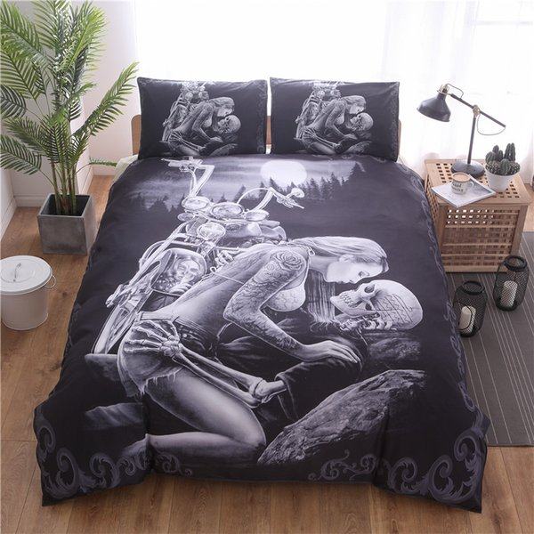 Bonenjoy Skull Bedding King Size Beauty Motorcycle Pattern Bed Sets Black Color Personality Duvet Cover Queen