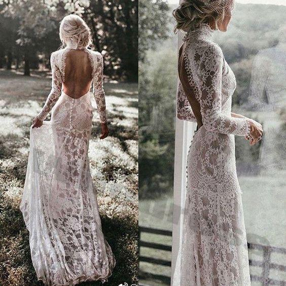 Sexy Lace Ball Gown Wedding Dresses Plus Size Wedding Dresses Backless Lace Wedding Dress Long Sleeve Illusion Bodice robe de mariée