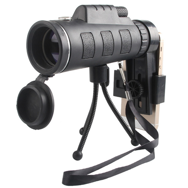 Cell Phone Photograph Tripod Monocular Telescope 40X60 High Power HD Monocular Telescope Low Night Vision Monocular for Adults with Phone