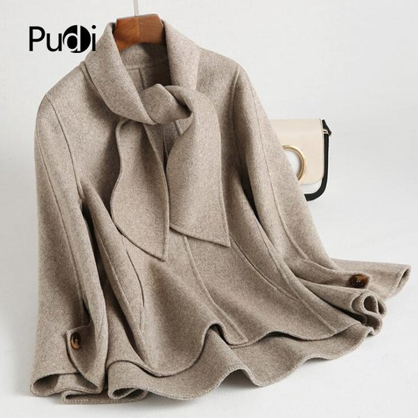 RO18047 2018 Women Fall Winter new fashion wool with scarf jacket with pocket lady long style pocket leisure coat