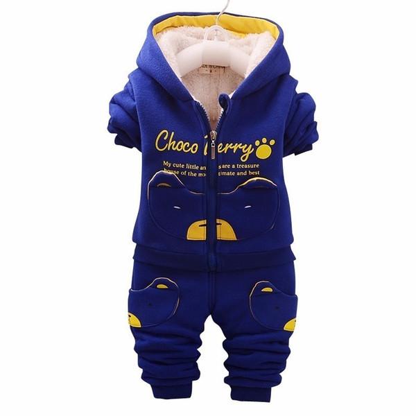 Children Clothing Sets Plus Thick Velvet Hooded Coat Pants 2pcs Suits Winter Letter Baby Boy Girl Autumn Toddler Sport Tracksuit