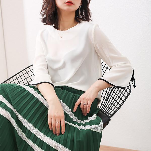 Kadın Yaz 100% Doğal Ipek Bluz Gerçek Ipek parlama Kol Temel Gömlek Kadınlar için OL Beyaz Üst Gömlek Bluzlar
