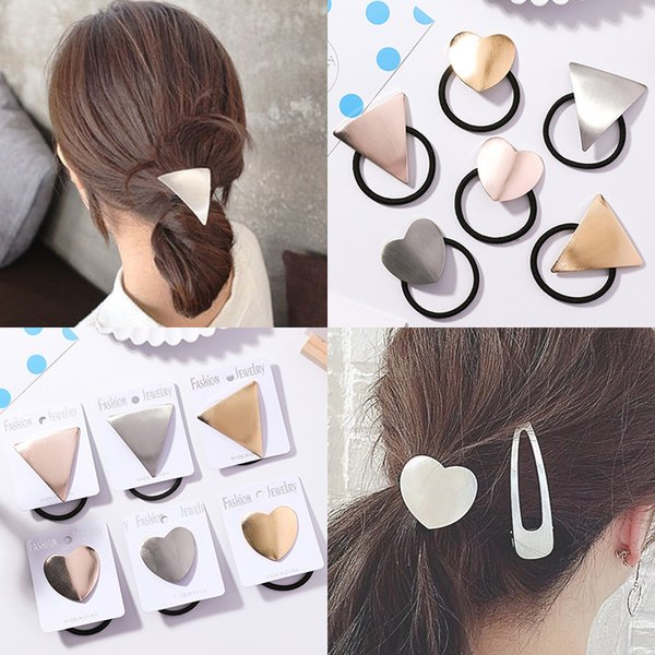 Personality Cute Brushed Heart-shaped Ponytail Hair Ring Head Rope for Women Small Fresh and Simple Triangle Geometry Hair Rope