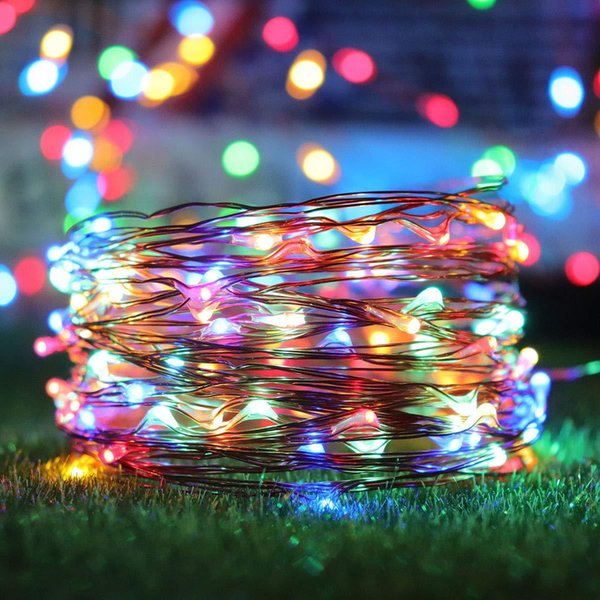 12 Meters 100 Led Starry String Lights Solar Led Fairy Micro Led Transparent Copper Wire For Party Christmas Wedding String Of Christmas Lights Pink