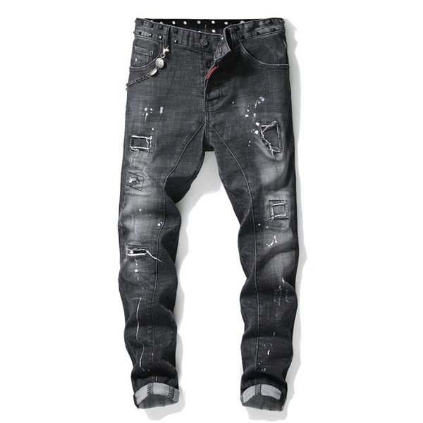 European American Style famous brand mens jeans luxury Men straight denim trousers zipper hole Slim black jeans for men