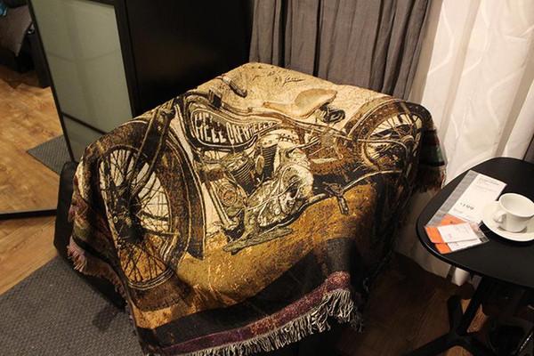 Goblen Sanat Goblen Dekoratif Battaniye Motosiklet Bar Dış Ticaret Pamuk Kapsayan Kanepe Halı Aliex Eğlence kanepe battaniye 120X150 cm