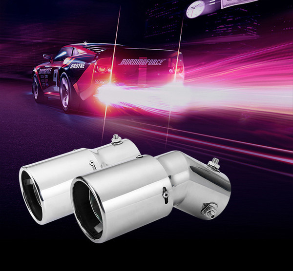 LOONFUNG LF223 Car Muffler Exhaust Pipe Bend/Straight Tail Rear Throat Spitfire Flaming LED Red Light Stainless steel