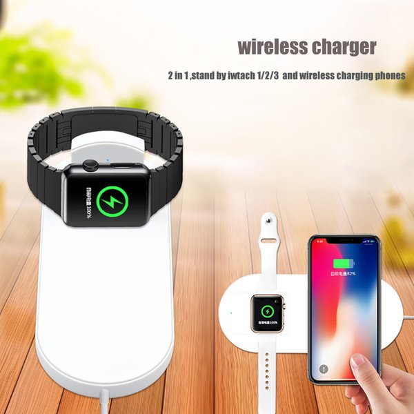 2 in 1 QI Wireless Charger For iPhone XS Max XR X 8 Plus 10W Quick Charging Pad For Apple Watch 1 2 3 For Samsung S9 S8