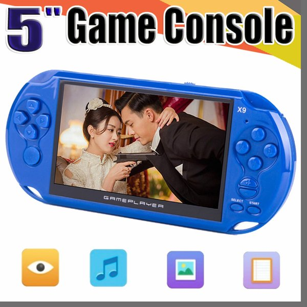 X9 Handheld Game Player 5 Inch Large Screen Portable Game Console MP4 Player with Camera TV Out TF Video for GBA FC Game free shipping