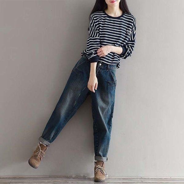 Женщина джинсы Женские дизайнерские брюки Boyfriend джинсы шаровары брюки повседневные Плюс Размер Свободный Fit Vintage Джинсовые брюки высокой талией джинсы 3XL