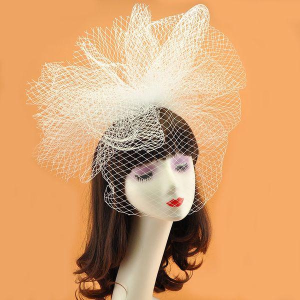 2018 Large White Black Wedding Fascinator Hat Women Mesh Hairband Ladies Derby Party Cocktail Bride Headband Hair Accessories